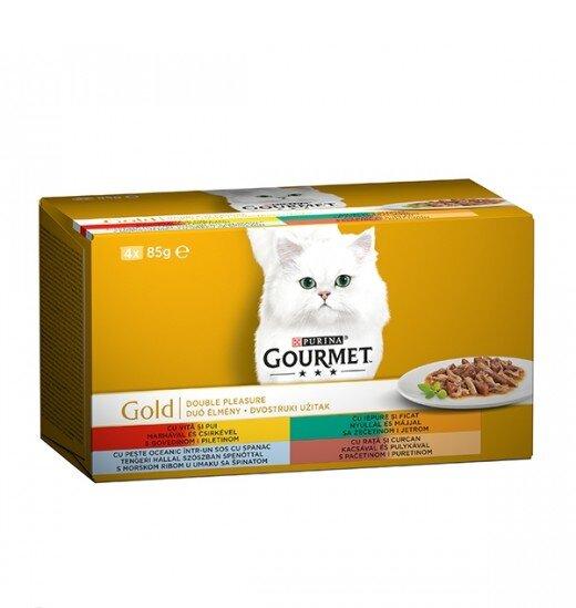 Gourmet Gold - 4 Консерви Асортимент Двоен Деликатес за Котки Различни Вкусове 4 х 85 гр.